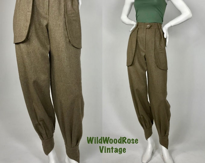 Vintage Escada by SRB 1980's Military Style Jodhpur High Waisted Wool Pants - Euro size 36 - Waist 27 - Inseam 30