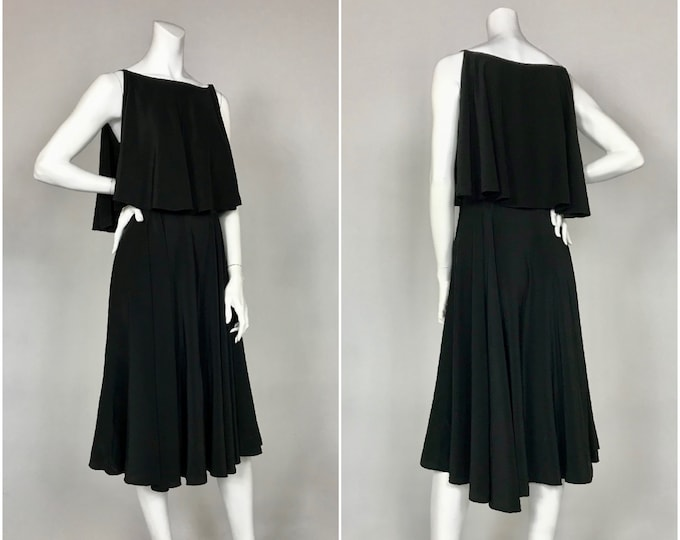 Vintage Bill Tice for Malcolm Starr Black Silk Bias Cut Drape Dress - Designer Vintage Dress - Cocktail Dress - Bust 39 - Waist 29