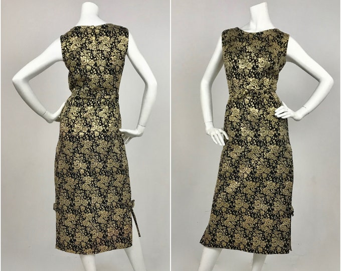 1960's Metallic Gold & Black Floral Brocade Sheath Dress - Contemporary Size Medium to Large