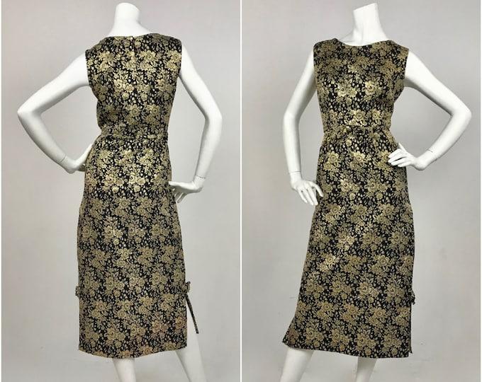 1960's Metallic Gold & Black Floral Brocade Sheath Dress - Contemporary Size Medium to Large
