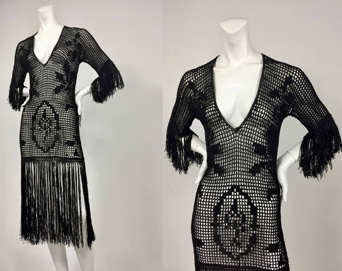 Roaring 20's Fringe Flapper Dress - 1920's Black Silk Crochet Fringe Dress - Flapper Girl - Historical Fashion - Museum Quality - Small/Med
