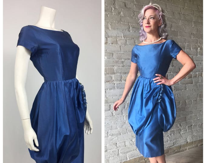 Vintage 1950's Royal Blue Sateen Cocktail Dress with Bubble Skirt and Silk Flowers - 50's Bridesmaid Dress - Wiggle Dress - Party Dress Sz 2