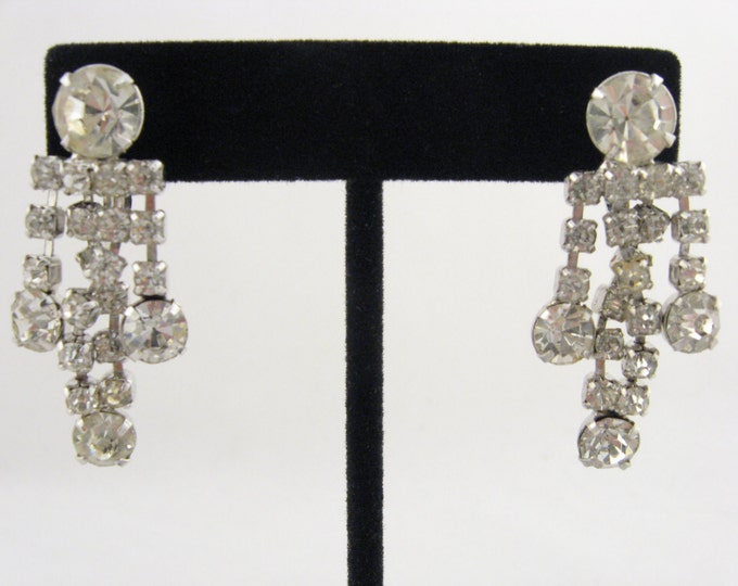 Antique Signed Continental Earrings // Clear Rhinestone Drop Earrings // Vintage Costume Jewelry // Continental Earrings