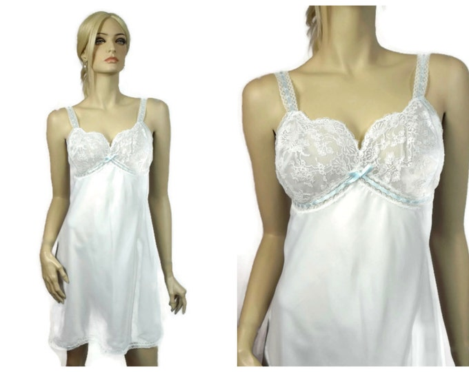 Christian Dior 1960's Lingerie Slip / Wedding Lingerie / Signed Designer Slip Dress / Vintage Dior/ Union Label 14522 Satin & Lace / Size 34