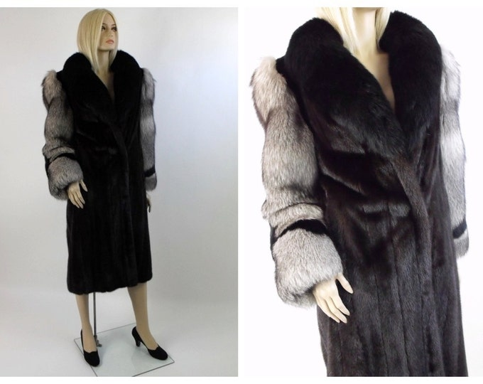 1980's Ingrid Klahn Full Length Mink & Fox Tuxedo Fur Coat