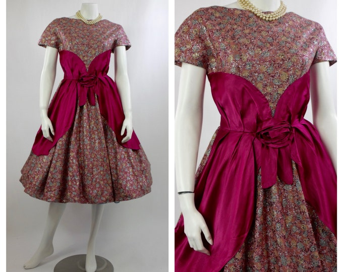 1950's Cupcake Prom Dress - Pink and Blue Flocked Velvet Lurex Dress - Rockabilly Lamé Dress - Full Skirt Dress - Metallic Cocktail Dress