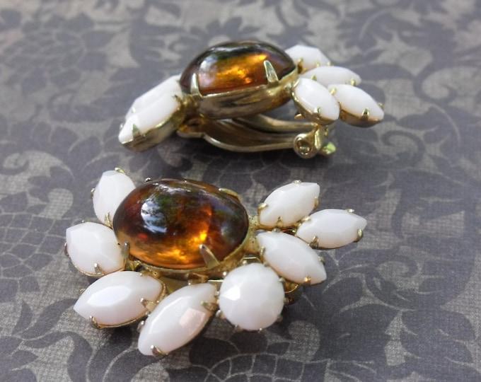 Collectible Sherman Jewelry // Sherman Clip On Earrings // Pale Pink & Topaz Sherman // 1960's