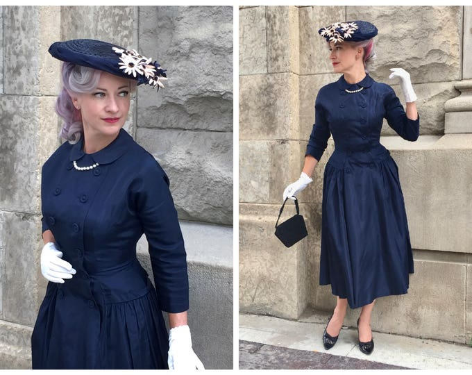 Late 1940's New Look Navy Taffeta Day Dress with Double Breasted Buttoned Bodice - Gathered Full Skirt - Peter Pan Collar - Bow at Back - S