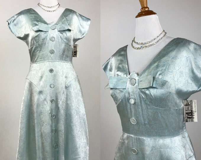 Late 1940's to 1950's Aqua Seafoam Floral Brocade Day Dress - Elegant Sheen - Self Covered Buttons - Excellent Vintage Condition - SZ XL