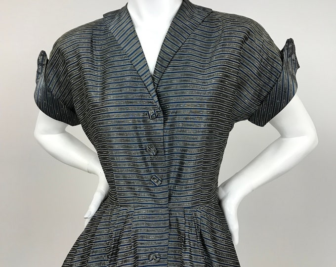 Vintage Late 1940's Striped, Textured Taffeta Day Dress - Gunmetal Grey and Navy - Waist 28 - New Look Styling