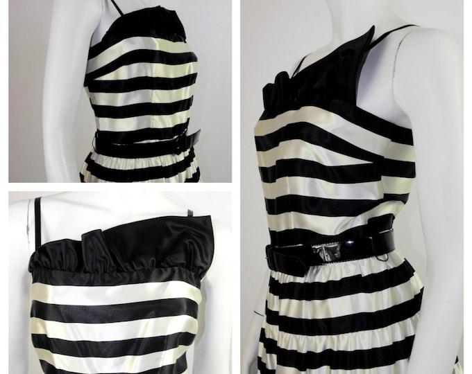 1980's Rockabilly Dress / 80's Black & White Striped Satin Prom Dress / 80's A. J. Bari Cocktail Dress / Full Skirt Steampunk Dress / Size 4