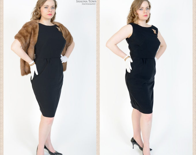 1950's Black Wiggle Dress // Vintage Little Black Dress // Audrey Hepburn Style Vintage Dress // LARGE 12 TO 14