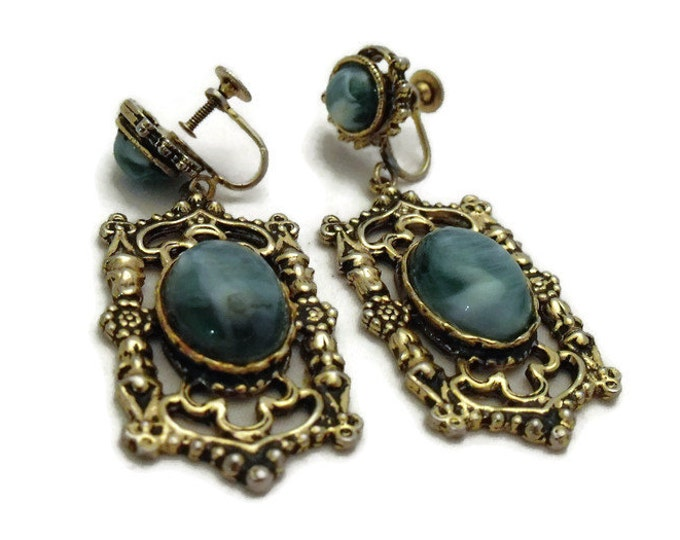 Vintage 1970's Faux Turquoise Large Drop Earrings - Boho Earrings - Gold Toned Setting with Faux Turquoise Stones - 70's Large Earrings