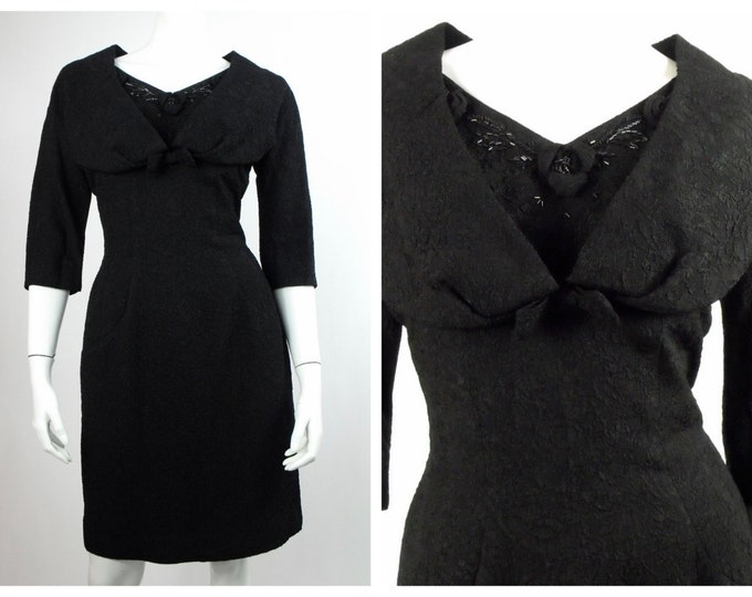 1950's Little Black Wiggle Dress // Portrait Collar Beaded Black Matelassé Dress // LBD //  Marilyn Monroe Wiggle Dress // Size 6
