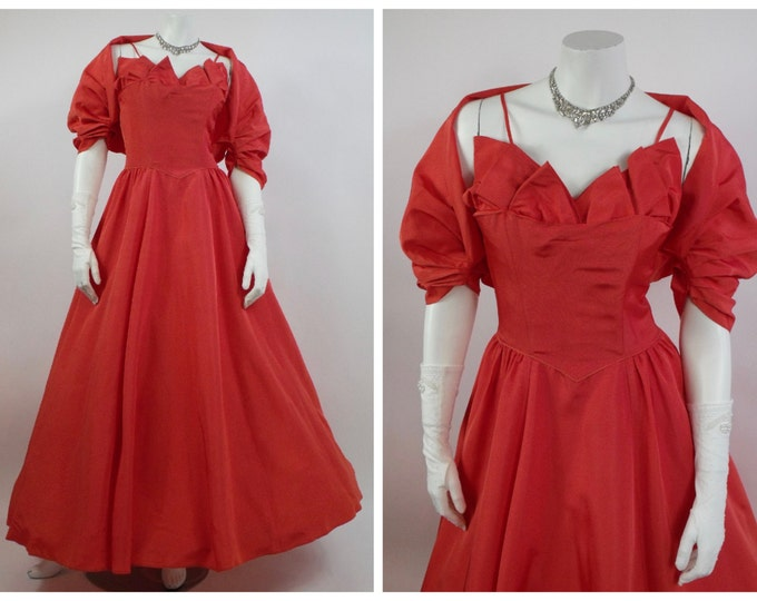 1950's Orange Taffeta Prom Dress - 50's Evening Gown - Retro Graduation - Full Length Gown - Pleated Shelf Bust - Matching Bolero - Size 2