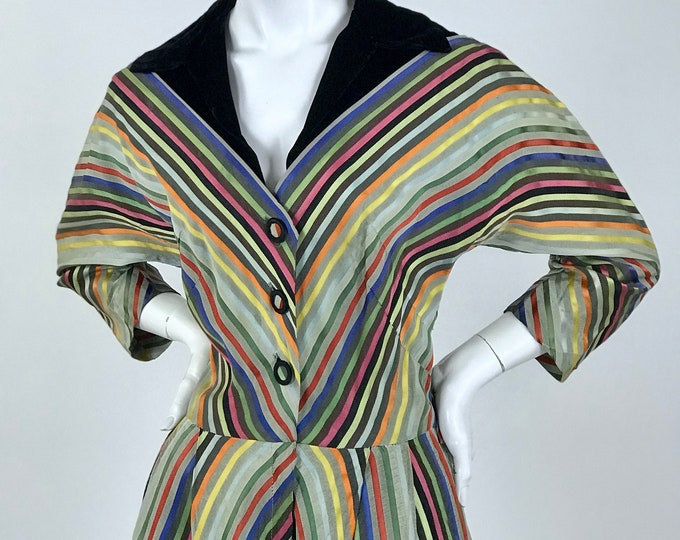 Vintage 1950's Multi-Coloured Diagonal Striped Sateen New Look Styled Cocktail Dress with Black Silk Velvet Collar / Ladies Size Medium