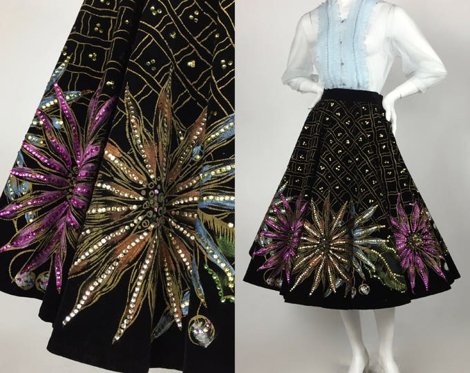 RESERVED Layaway 3 - Novelty Circle Skirt - 50's Hand Painted Black Velvet Circle Skirt - Mexican Floral Novelty Skirt - Sequins and Flowers