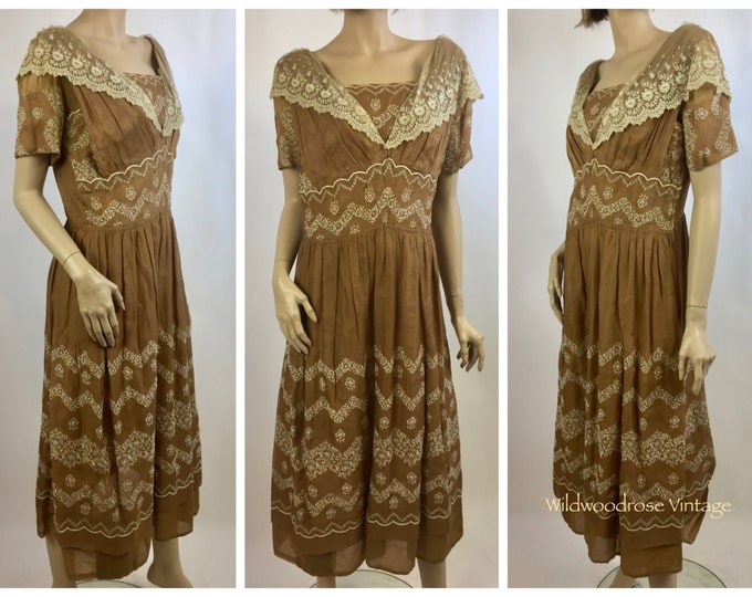 Antique Redux Lace Day Dress - Victorian Dress Altered into 1920's Style Dress - Bobbin Lace - Hand Embroidered - Museum Collection Dress -
