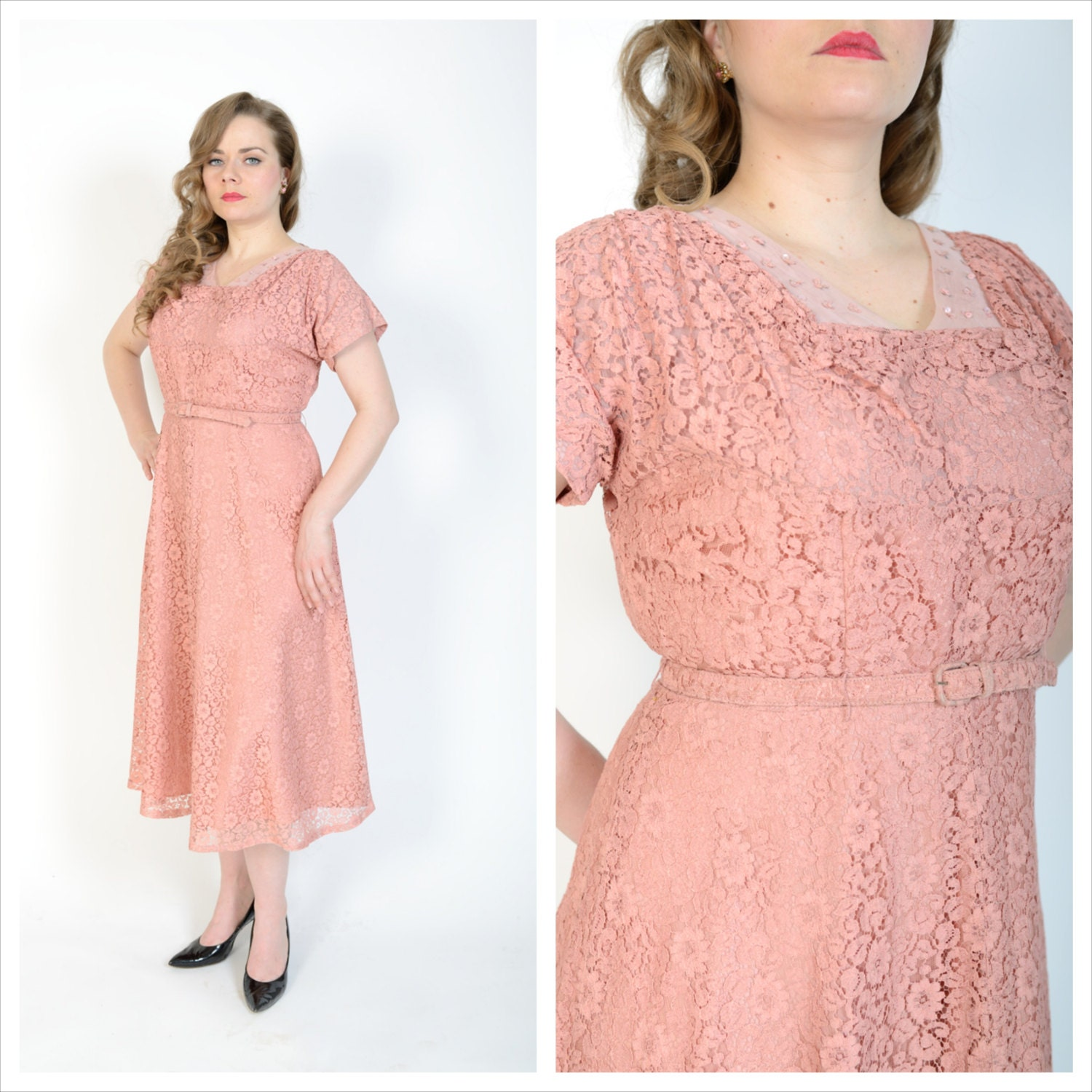 1940\'s Dusty Rose Cocktail Dress // 40\'s Chantilly Lace Dress ...