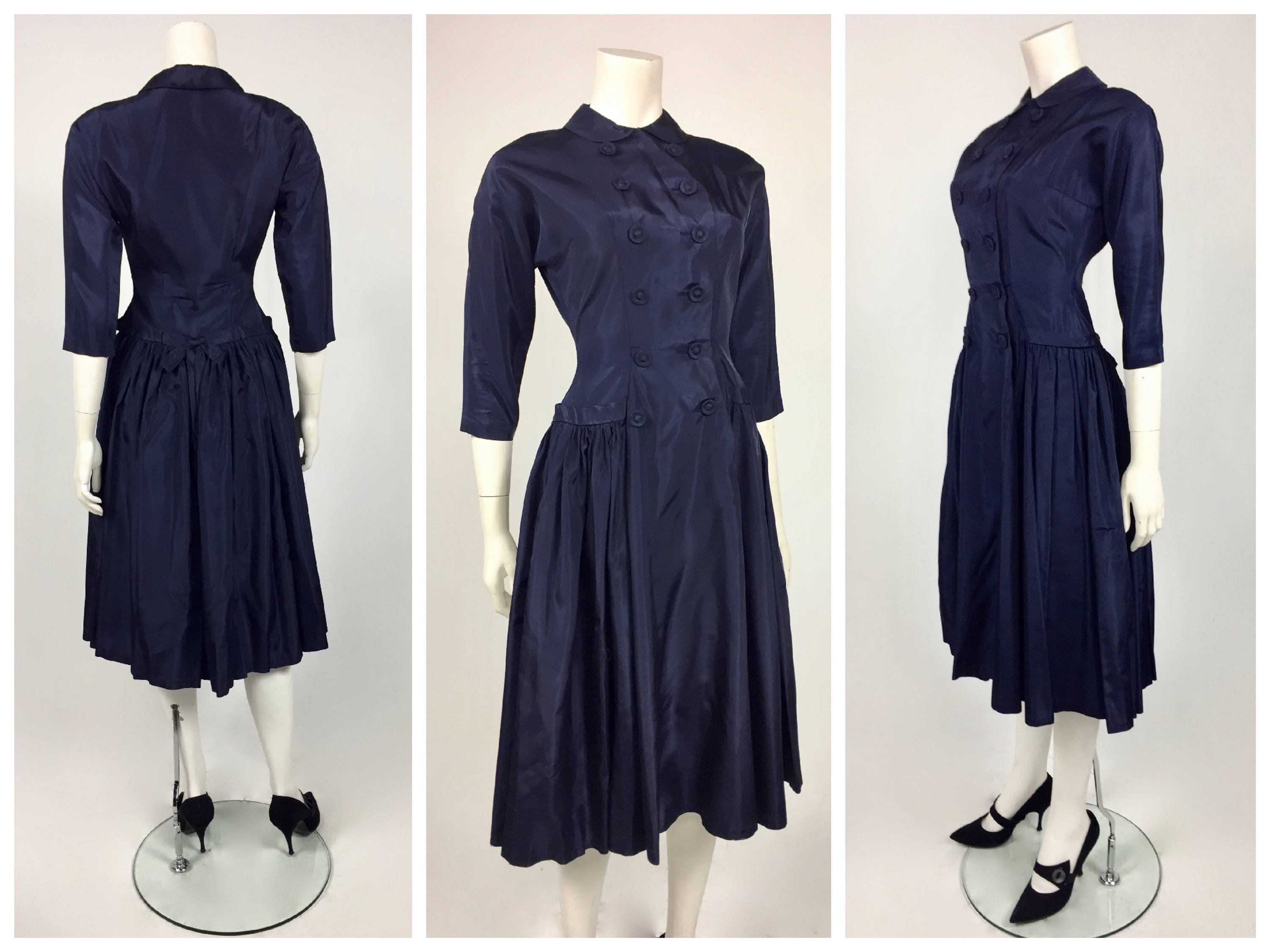 Late 1940\'s New Look Navy Taffeta Day Dress with Double Breasted ...