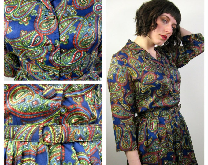 1950's Red, Blue & Green Paisley Day Dress // Rockabilly Dress // Paisley Shirtwaist Dress // 50's Full Skirt Dress // Ladies Medium