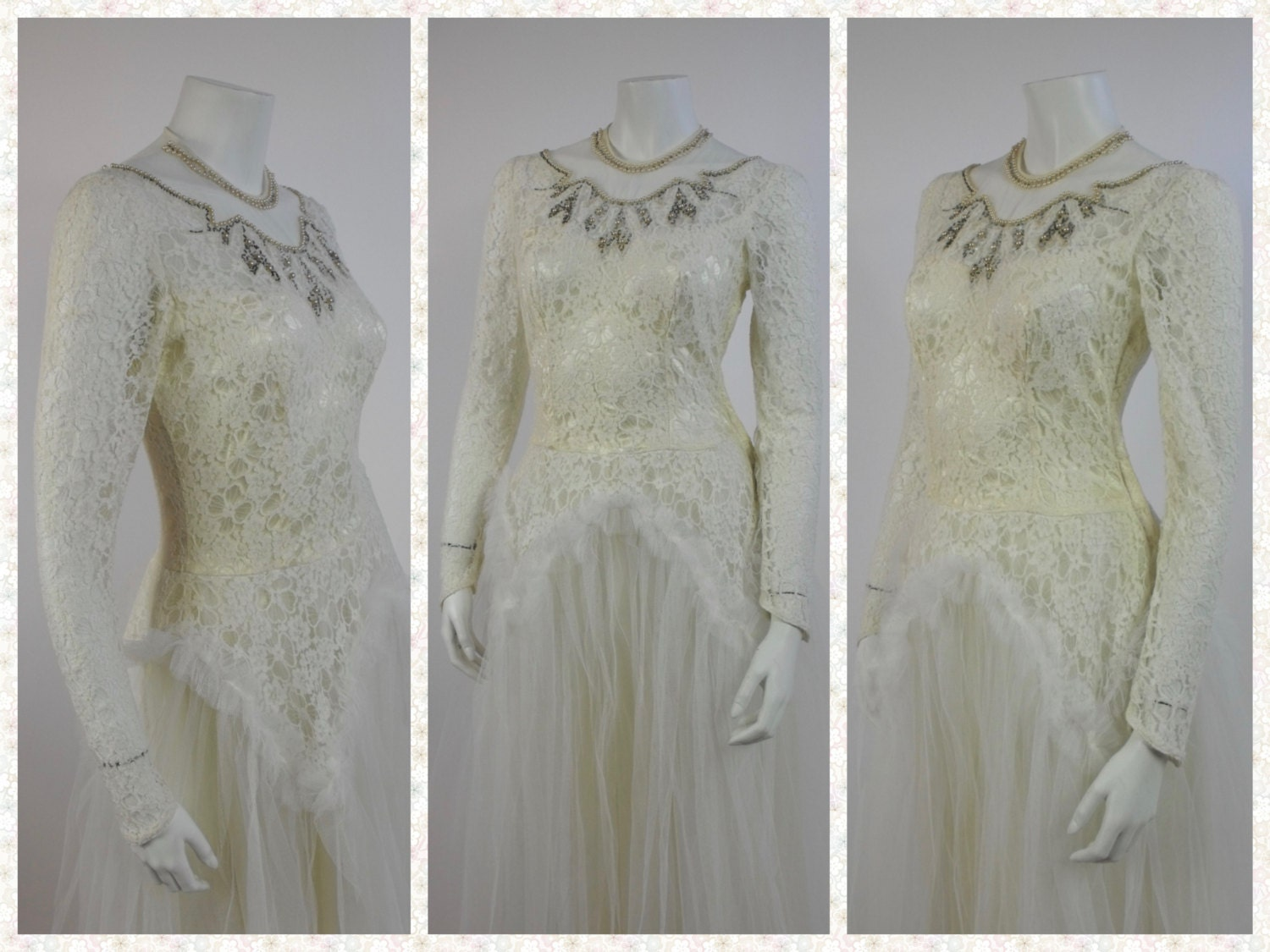 1940\'s Lace Wedding Gown - Vintage Wedding Gown - New Look Era Gown ...