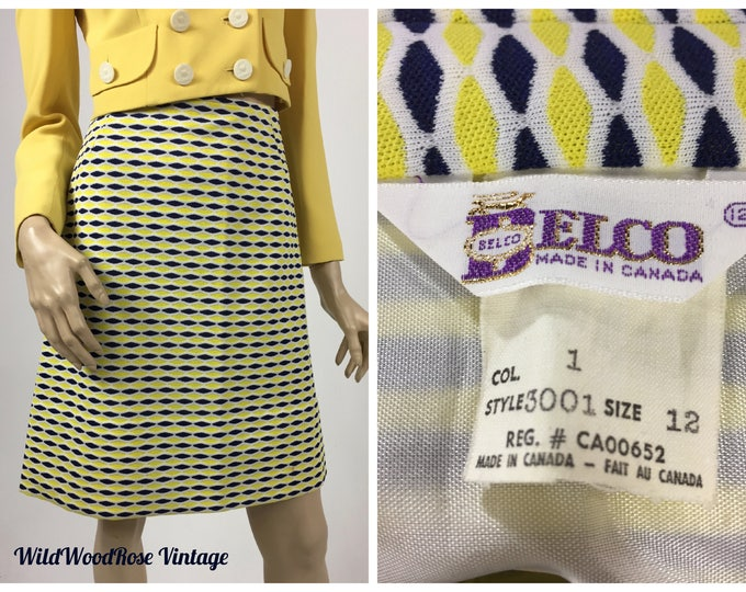 Vintage 1970's A-Line Mini Skirt - Navy and Yellow Diamond Polyester Knit - Summer Skirt - By Belco - Waist 29