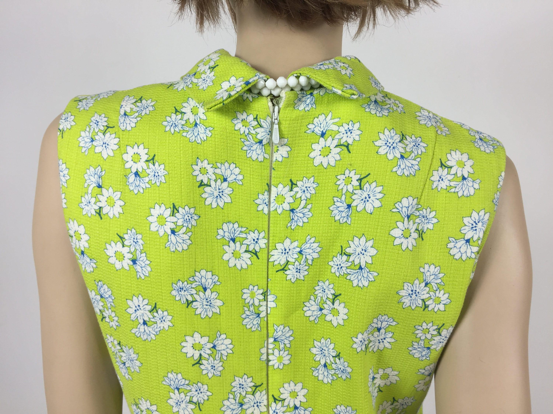 e0a05f482e Vintage 1960's Acid Green and White Floral Mini Dress - Shift Style ...