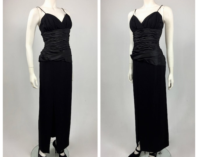 Victor Costas Designer 1980's Black Crepe and Taffeta Evening Gown - By Bonwitt Teller of NYC - Vintage Evening Gown - Red Carpet Ready - 4