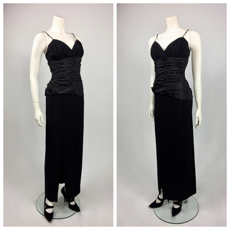 Victor Costas Designer 1980\'s Black Crepe and Taffeta Evening Gown ...