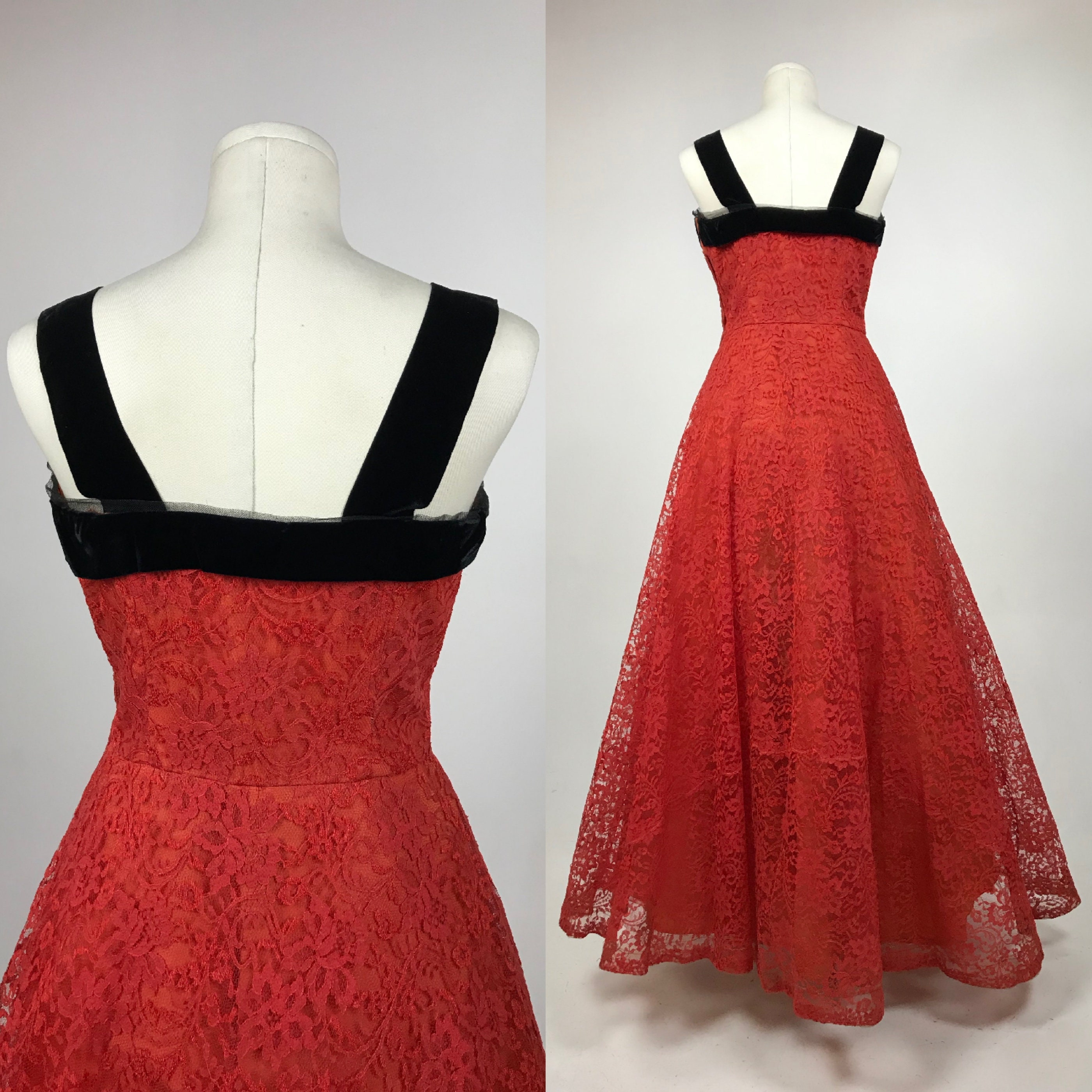 cdfad9d24 Vintage 1950 s Red Chantilly Lace Prom Dress - 50 s Red Wedding Gown ...