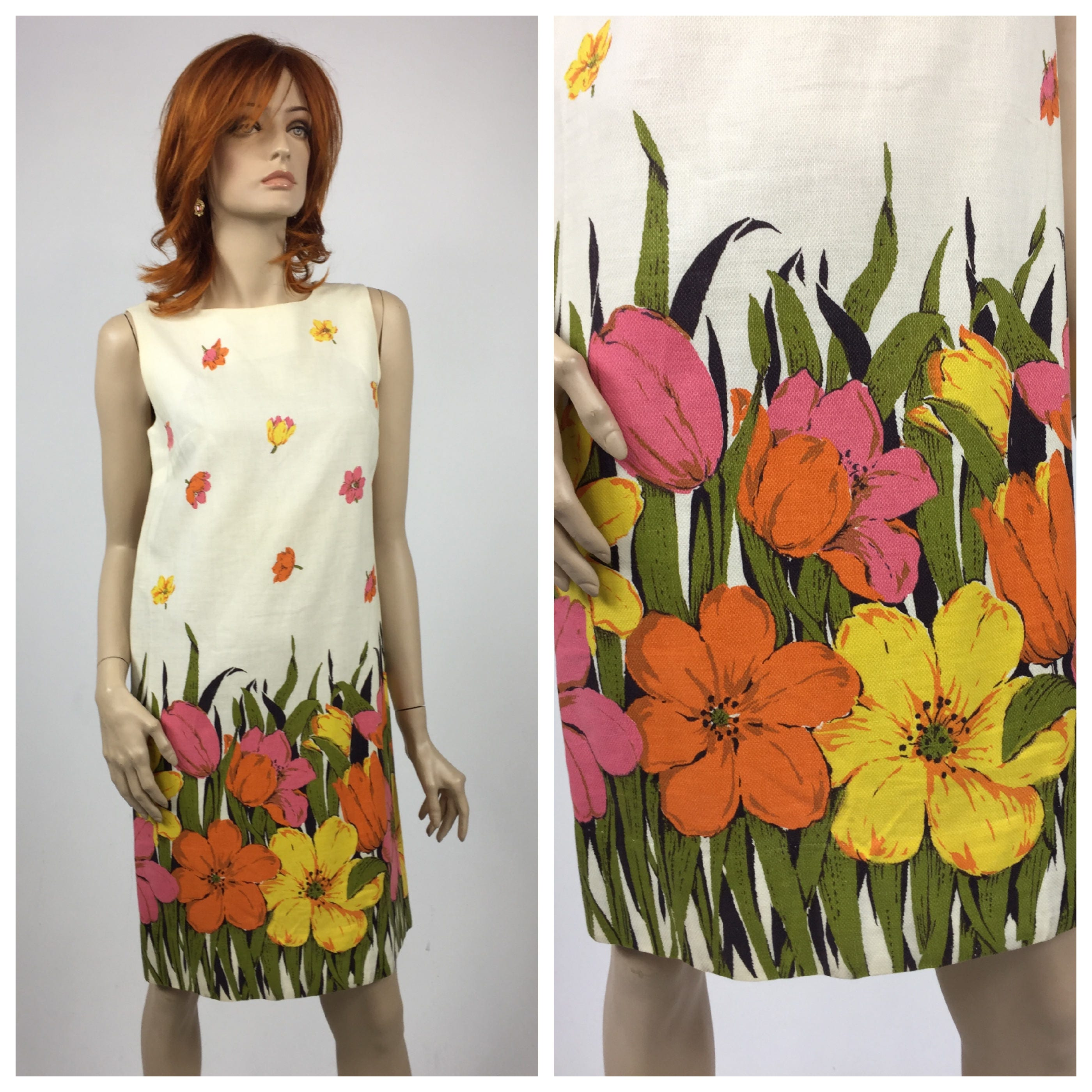 1960 s Border Print Shift Dress   Floral Print Cotton Summer Dress ... bff82249e