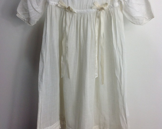 Antique Christening Gown // Antique Baby Clothing // Vintage Christening Gown // Edwardian Cotton Voile Baby Gown