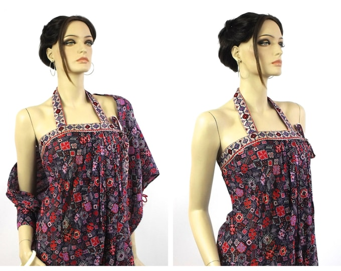 1970's Maxi Dress // Beach Wrap Dress // Made In Italy // Purple, Navy & Red Ethnic Inspired Italian Cotton Beach Wrap Maxi Dress