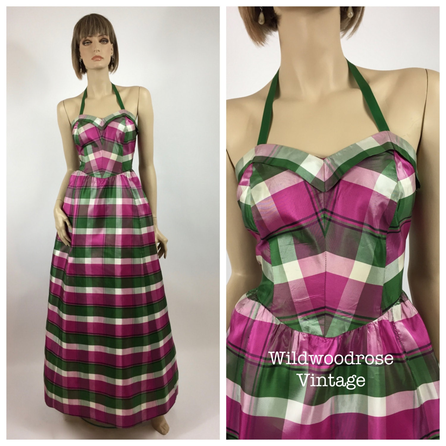 7d29ae0a0 Vintage 1950's Green, Pink and White Plaid Taffeta Prom Gown - New ...
