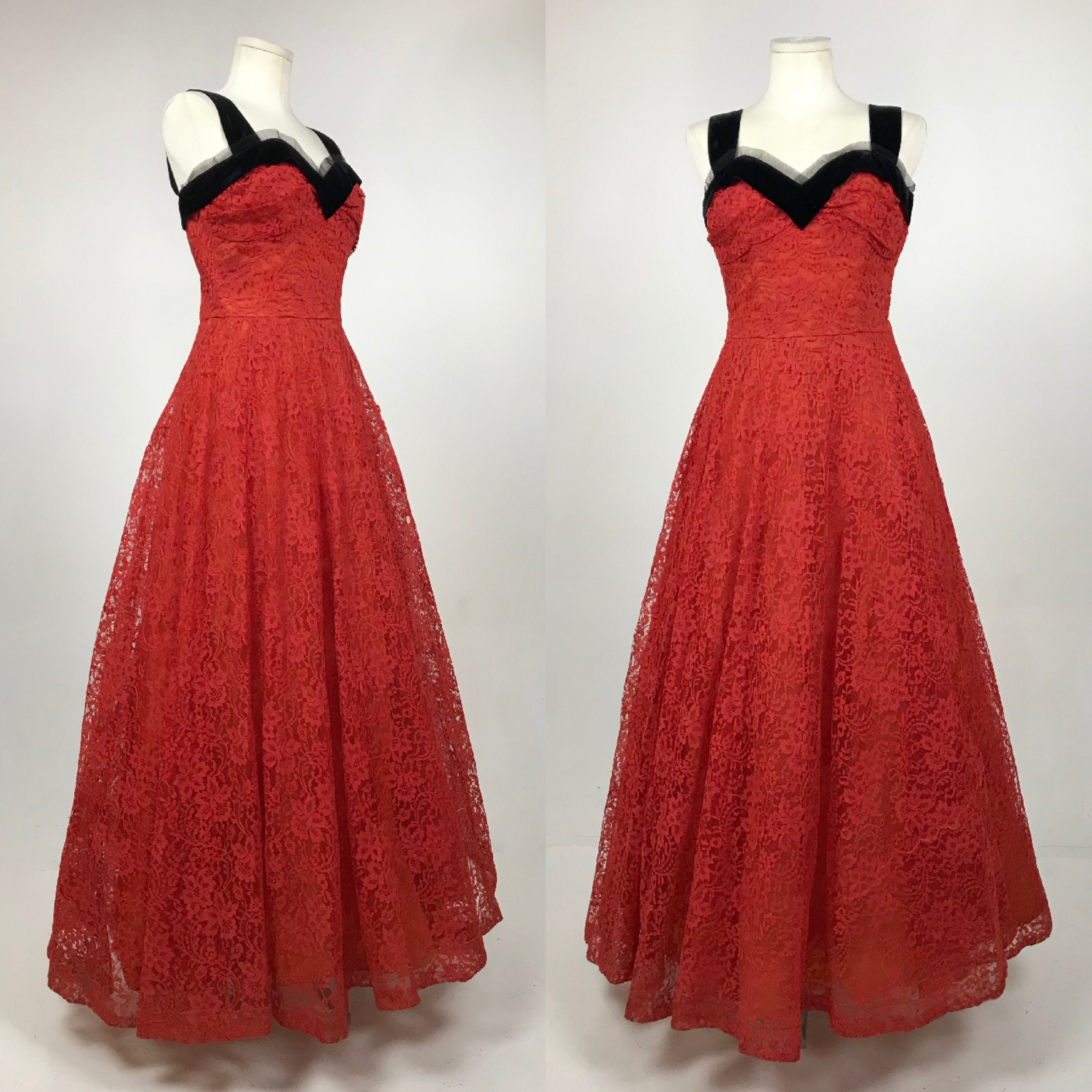475322fef Vintage 1950 s Red Chantilly Lace Prom Dress - 50 s Red Wedding ...
