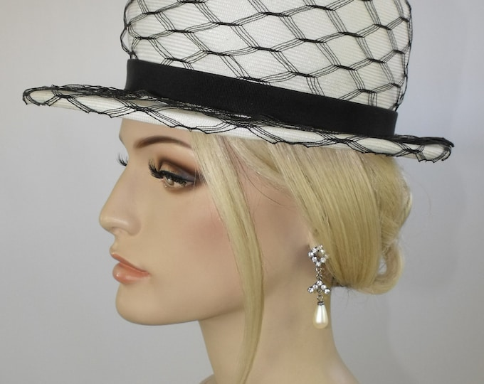1960's White Straw Panama Style Cocktail Hat // Ladies Straw Fedora // Vintage White Straw Hat with Navy Net
