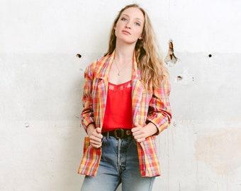 425bd1b61b8 Lightweight Plaid Blazer . Summer Jacket Vintage 90s Women Long Blazer Long  Oversized Blazer Coat . size Small