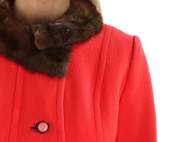 Women Medium Coat Elegant to Collar Coat Wool Outerwear Coat Coat Coat Mink Bohemian Princess Retro Red Vintage Ladies Small Fur 70s Red Wg1nqTYR