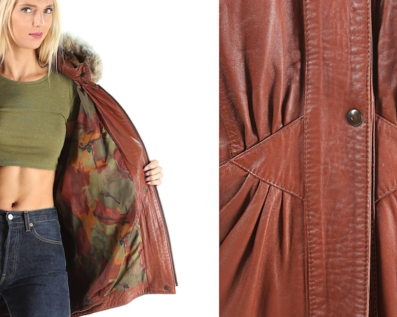 Leather FUR Parka Quality 80s FOX Short Up TRIM Coat Jacket Large Brown Winter Coat European Pockets Zip Women Insulated Mini ffr0Fwxq