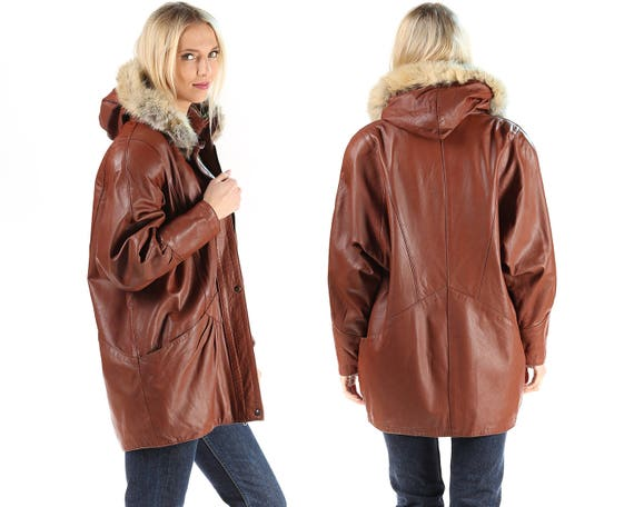 FOX Large 80s Short Winter Brown Leather Parka Coat European FUR TRIM Coat Up Pockets Women Insulated Mini Jacket Quality Zip q7HxYAxw