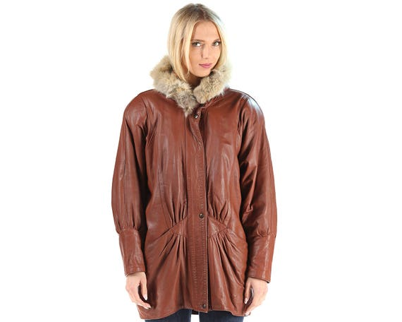 Insulated Women Coat Parka Leather Pockets FOX European Coat 80s Quality Brown Winter Up Jacket Short Zip Mini TRIM Large FUR zBI4x
