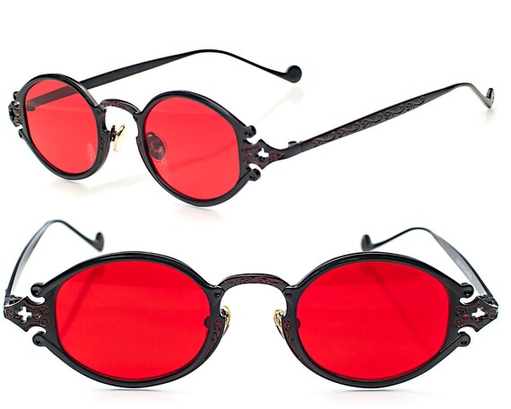 Pince Nez Vintage Style Gothic Steampunk Red Lens Oval Costume Cosplay Sunglasses