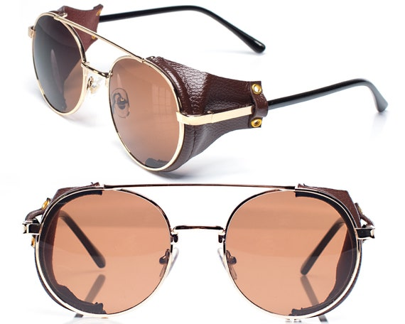 Tabak Brown Steampunk Sunglasses 90s Leather Side