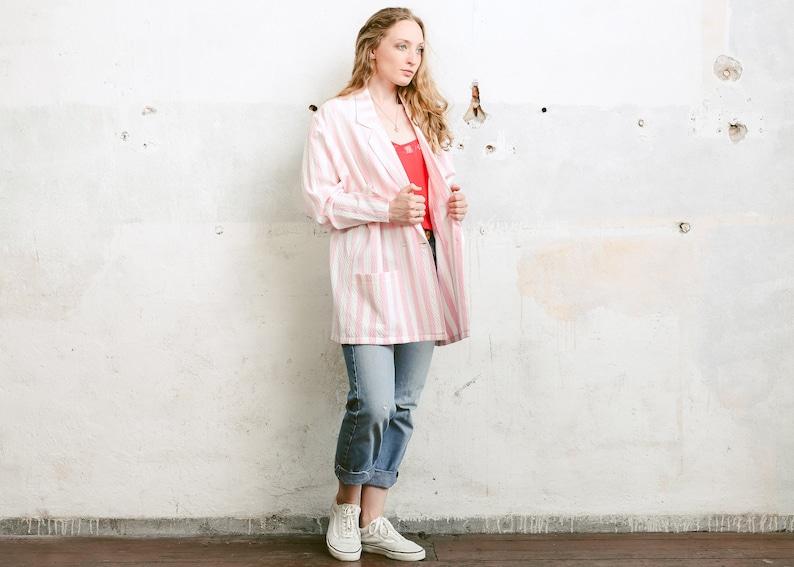 2659e6fca4e Vintage Women Blazer . Striped Summer Jacket 90s Long Blazer