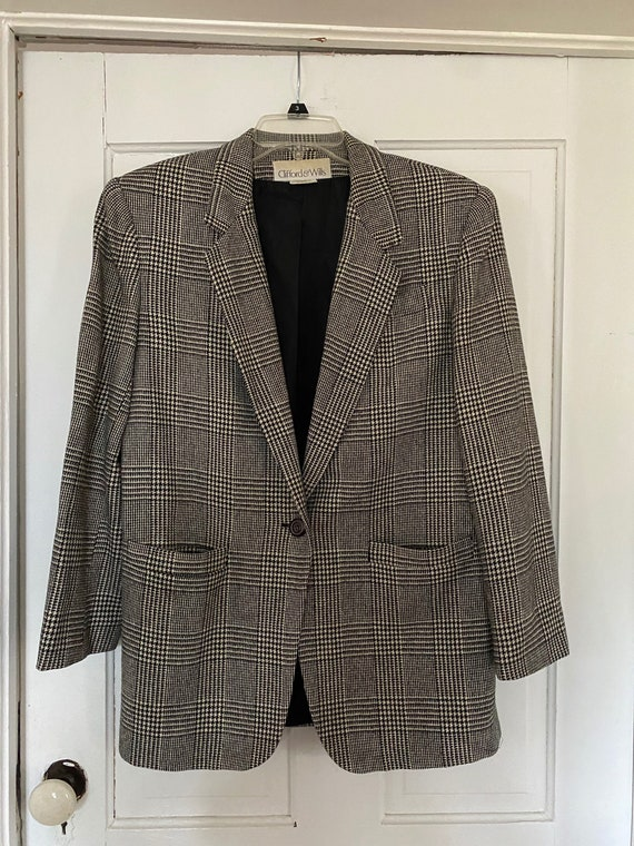 Ladies Tartan Plaid Oversized Blazer Jacket