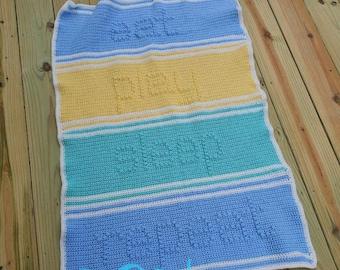 Eat, Play, Sleep, Repeat Crochet Baby Blanket