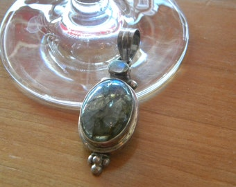 Sterling Labradorite Pendant with Moonstone Accent