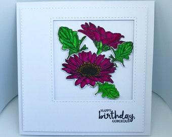 Gerbera Birthday Card, Greetings Card, Celebration Card