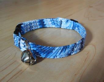 Custom Blue marbled BREAKAWAY CAT COLLAR  kitty collar